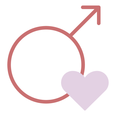 icon male with pink heart